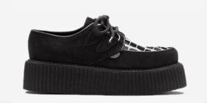 Underground Original Wulfrun Creeper black leather suede and crocodile print shoe for men and women