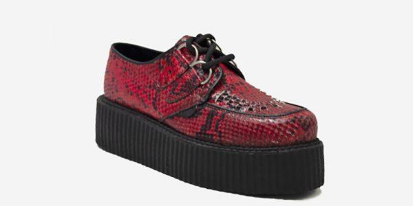 Underground Original Wulfrun Creeper red python embossed leather shoe for men and women