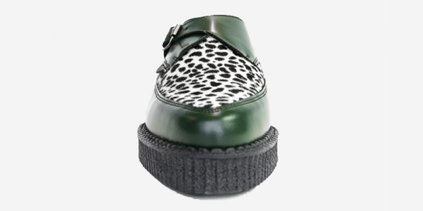 Underground Original Apollo Creeper green leather and leopard print pony buckle shoe for men and women