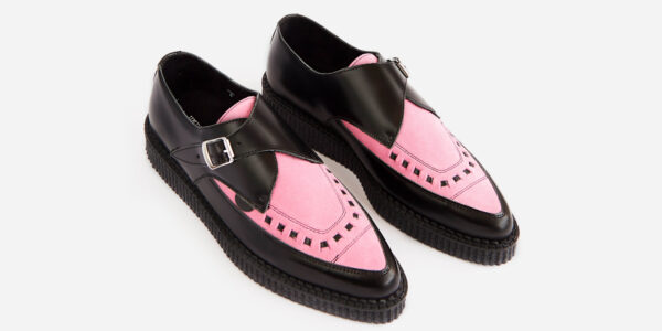 Underground Original Apollo Creeper black leather and pink suede buckle shoe for men and