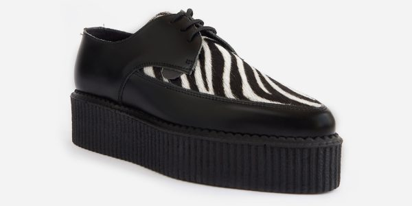 Underground Original barfly Creeper black leather with black and white pony zebra print shoe for men and women