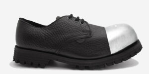 TRACKER 3 EYELET EXTERNAL STEEL CAP SHOE – BLACK TUMBLED LEATHER – SINGLE SOLE – CUSTOM MADE