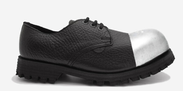 Underground England Tracker black tumbled leather external steel toe cap leather shoe for men and women