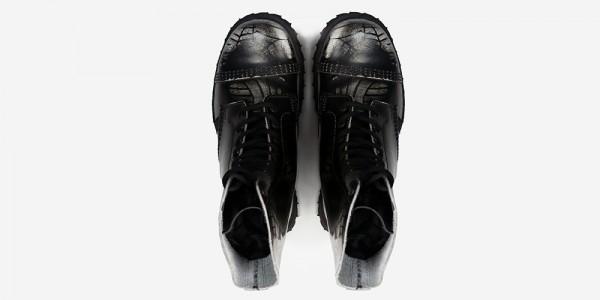 Underground Original Steel Cap Commando black and white spiderweb rub-off leather combat boot for men and women