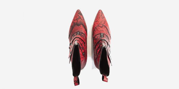 Underground England Winklepicker Blitz red python leather 3 strap boot with front zip for men and women