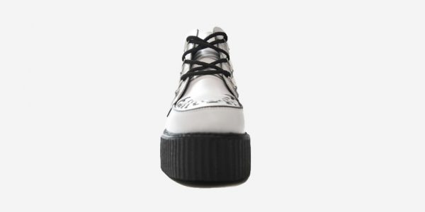 FRONT VIEW DOUBL SOLE WHITE LEATHER CREEPER BOOT