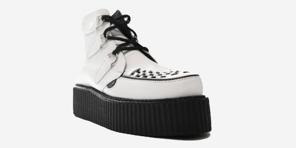ANGLE VIEW DOUBL SOLE WHITE LEATHER CREEPER BOOT