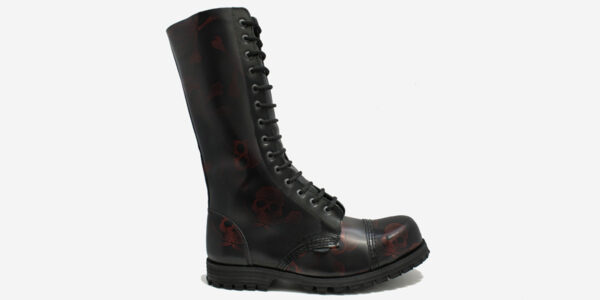 Underground Original Steel Cap Ranger red and black skull rub-off leather combat boot for men and women