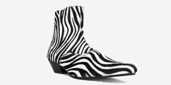 Underground England Marlon Winklepicker black and white zebra print pony hair boot for men and women