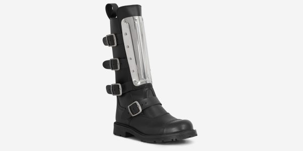 UNDERGROUND WARRIOR 4 BUCKLE BOOT WITH UNION JACK SOLE – BLACK LEATHER & METAL PLATE – BOOTS FOR MEN AND WOMEN