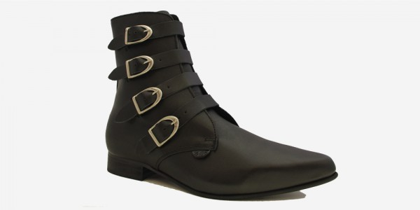 Underground England Peck Winklepicker black grain leather and plain buckles boot for men and women