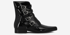 Underground England Peck Winklepicker black patient leather and silver plain buckles boot for men and women