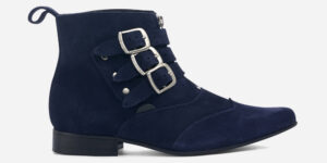 Underground England Winklepicker Blitz navy suede leather 3 strap boot with front zip for men and women