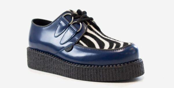 Underground Original Wulfrun Creeper royal blue leather and zebra pony hair shoe for men and women