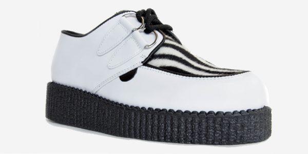 Underground Original Wulfrun Creeper white leather and zebra pony hair shoe for men and women