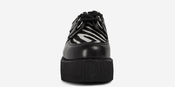 Underground Original Wulfrun Creeper black leather and black and white zebra pony hair shoe for men and women