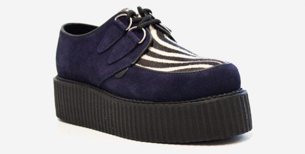 Underground Original Wulfrun Creeper navy suede leather with zebra print pony hair shoe for men and women