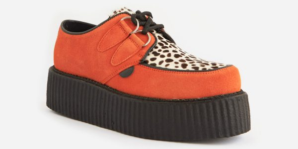 Underground Original Wulfrun Creeper orange suede leather with leopard print pony hair shoe for men and women