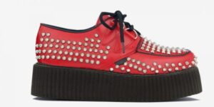 Underground Original Wulfrun Creeper red leather and all over studs shoe for men and women