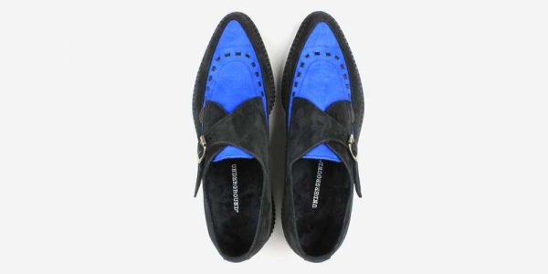 Underground Original Apollo Creeper black and royal blue suede buckle shoe for men and