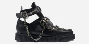Underground Original Bowie black crocodile embossed leather with chains boot for men and women