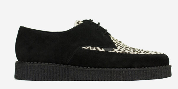 Underground Original Barfly Creeper black suede with leopard print pony hair shoe for men and women