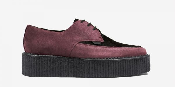 Underground Original barfly Creeper burgundy suede and burgundy pony hair for men and women