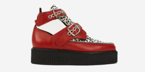Underground Original Bowie Creeper red grain leather and leopard pony boot with buckles for men and women
