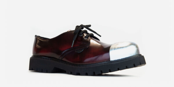 Underground England Tracker burgundy rub-off leather external steel toe cap leather shoe for men and women