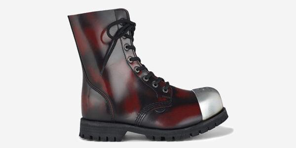 Underground Original Steel Cap Stormer external cap burgundy rub-off leather combat boot for men and women