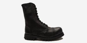 COMMANDO 10 EYELET STEEL CAP BOOT – BLACK TUMBLED LEATHER – SINGLE SOLE – CUSTOM MADE