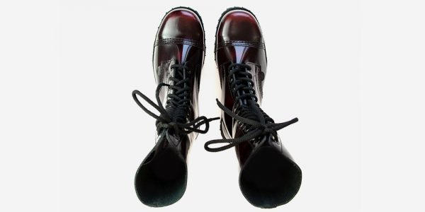 Underground Original Steel Cap Ranger burgundy rub-off leather combat boot for men and women