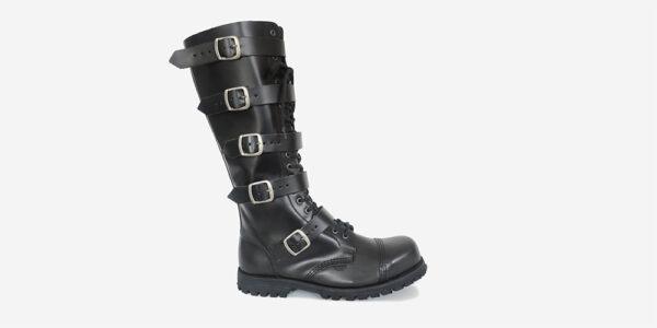 Underground Original Steel Cap Gripper Black leather knee length combat boot 5 strips with buckles for men and women