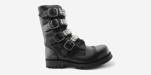 Underground England Original Commando Steel Toe Cap Black Leather Boot with 4 buckles and pyramid studs for men and women
