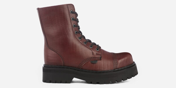 Steel Cap Stormer Burgundy crocodile embossed leather combat boot for men and women