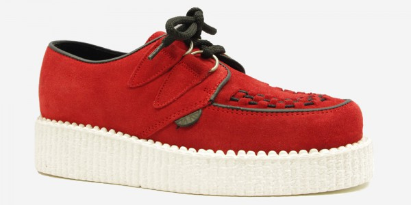 Underground Original Wulfrun Creeper red suede with white sole shoe for men and women