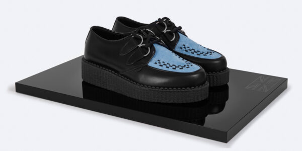 UNDERGROUND ORIGINAL WULFRUN CREEPER – BLACK LEATHER & SKY BLUE SUEDE – SHOES FOR MEN AND WOMEN