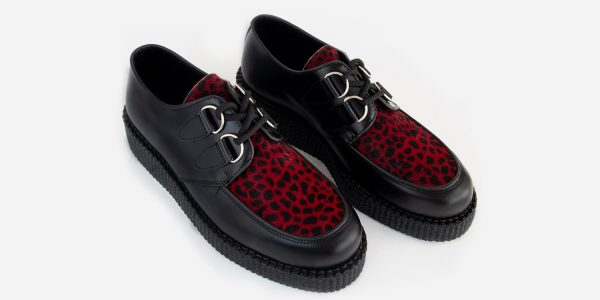 Underground Original Wulfrun Creeper black leather and red leopard pony hair shoe for men and women