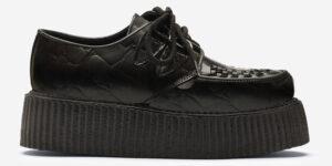 Underground Original Wulfrun Creeper black crocodile emboss leather shoe for men and women