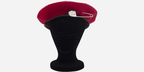UNDERGROUND WINDSOR WOOL BERET RED WITH BIG SILVER SAFETY PIN FOR MEN AND WOMEN
