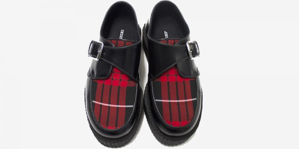 Underground Original King Tuts Creeper Black leather and macqueen tartan apron buckle shoe for men and women