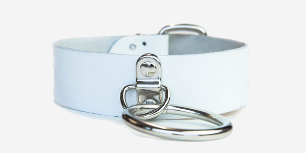 UNDERGROUND NECKBAND – WHITE LEATHER – NICKEL RING ACCESSORIES FOR MEN AND WOMEN