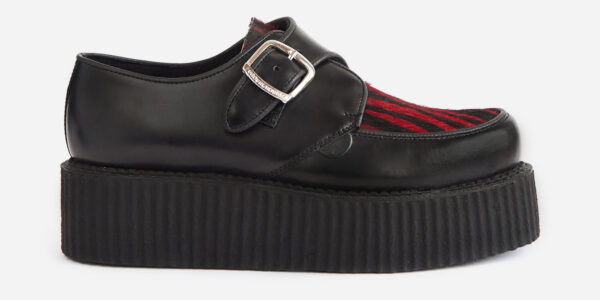 Underground Original King Tuts Creeper Black leather and red zebra pony hair buckle shoe for men and women