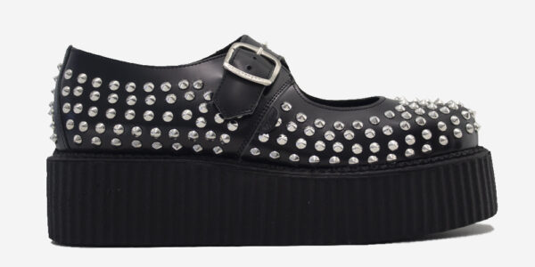 Original Underground Mary Jane Black Leather with all over studs Shoe for Men and Women