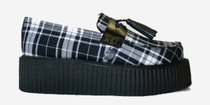 Underground Original Wulfrun Creeper black leather and Menzies tartan loafer shoe with tassel for men and women