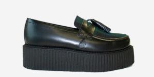 Underground Original Wulfrun Creeper black leather and black watch tartan loafer shoe with tassel for men and women
