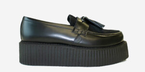 Underground Original Wulfrun Creeper black leather and suede loafer shoe with tassel for men and women