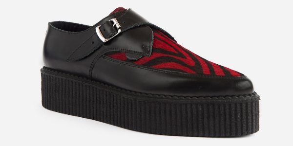 Underground Original Apollo Creeper Black leather and black and red zebra print pony hair buckle shoe for men and women