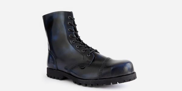 STORMER – 8 EYELET STEEL CAP BOOT – NAVY RUB-OFF LEATHER – SINGLE SOLE
