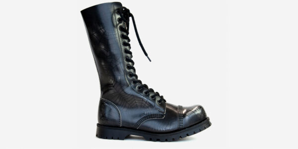 Underground Original Steel Cap Ranger black and white spiderweb rub-off leather combat boot for men and women